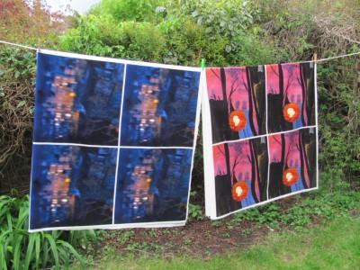 Velvet Bath abstract cushions