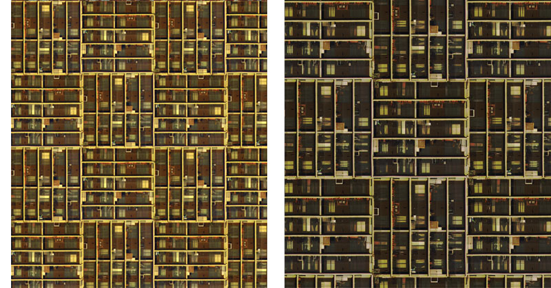 New York Grid wallpaper is available in mahogany and dark colourways